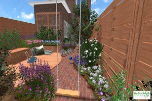 3D tuinontwerp kindvriendelijke stadstuin