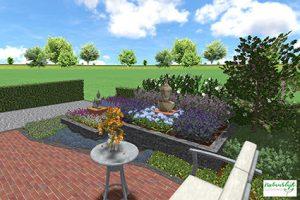 3D tuinontwerp kunstzinnige groene voortuin