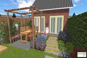3D tuinontwerp speelse eengezinswoning achtertuin