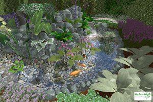 3D tuinontwerp watertuin met beekloop