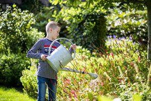 Jongen verzorgt de planten in de groene tuin