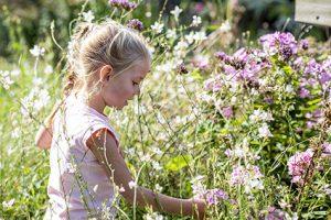 Meisje in bloemenborder