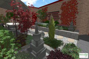 3D tuinontwerp oosterse groene tuin