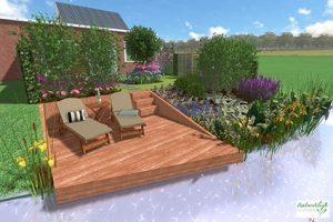 3D tuinontwerp achtertuin aan het water met vlonder