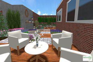 3D tuinontwerp - vlakkenspel met buitenkuiken en kruiden beplanting